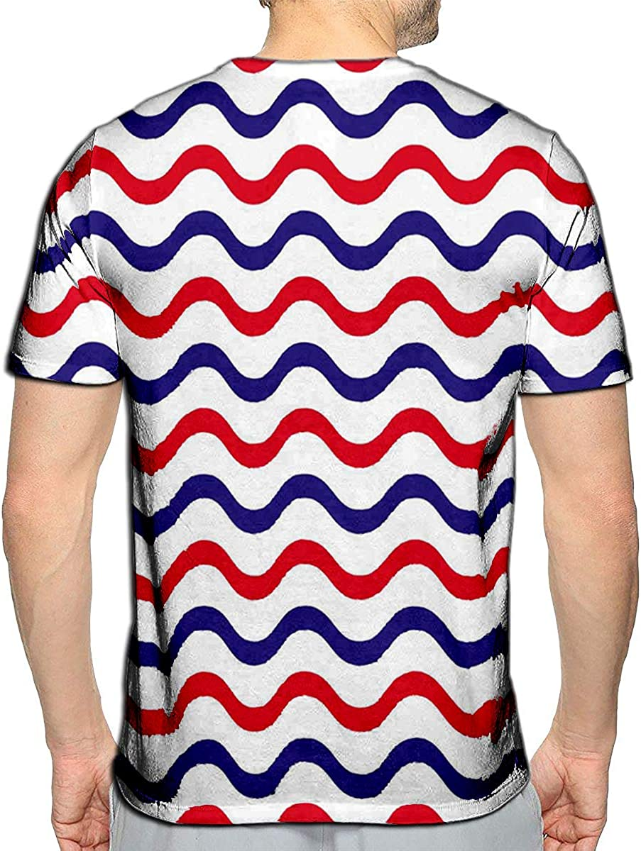 YILINGER 3D Printed T Shirts Wave in Blue and Red Strip Casual Mens Hipster Top Tees