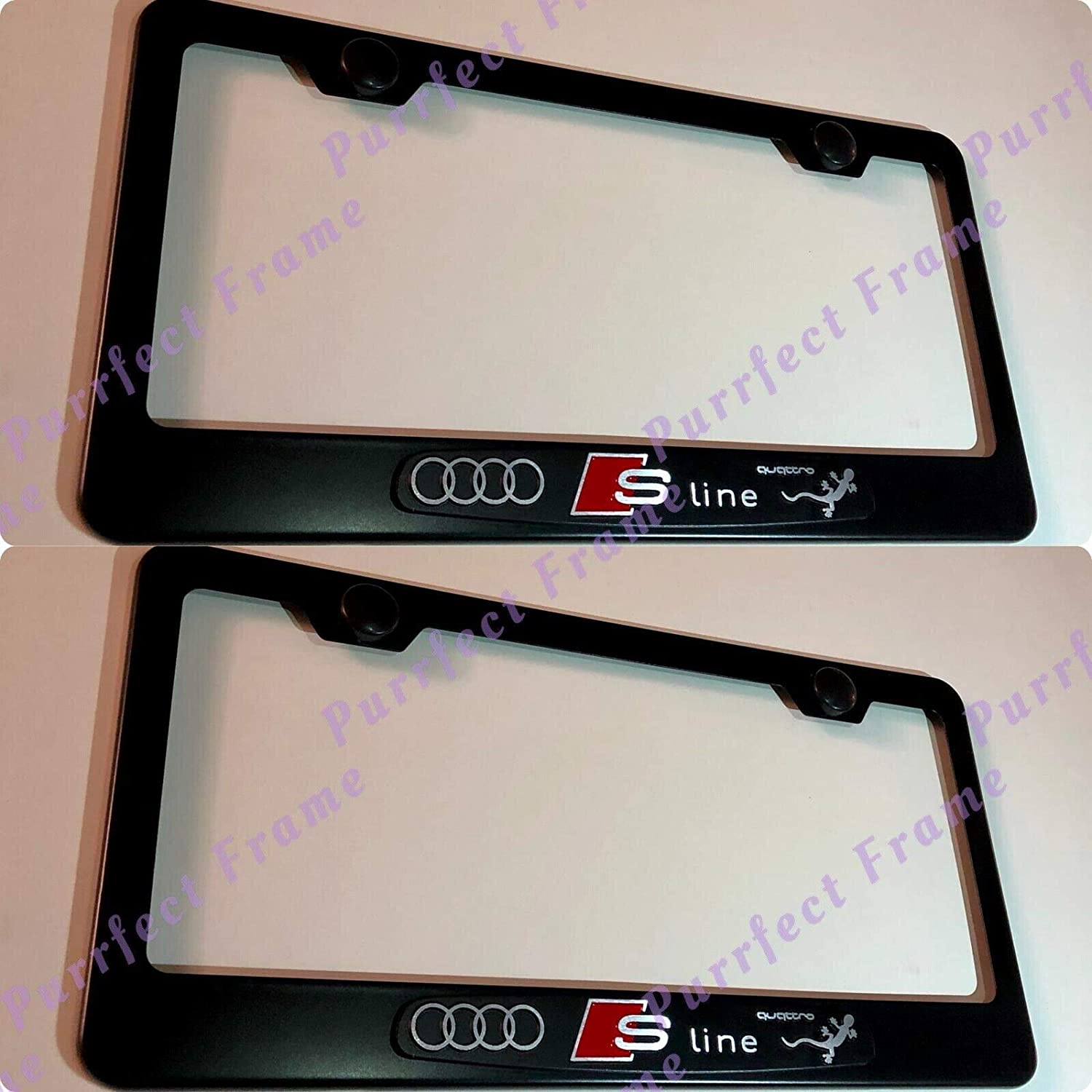 2X 3D Audi S Line Emblem Black Stainless Steel License Plate Frame W//Caps