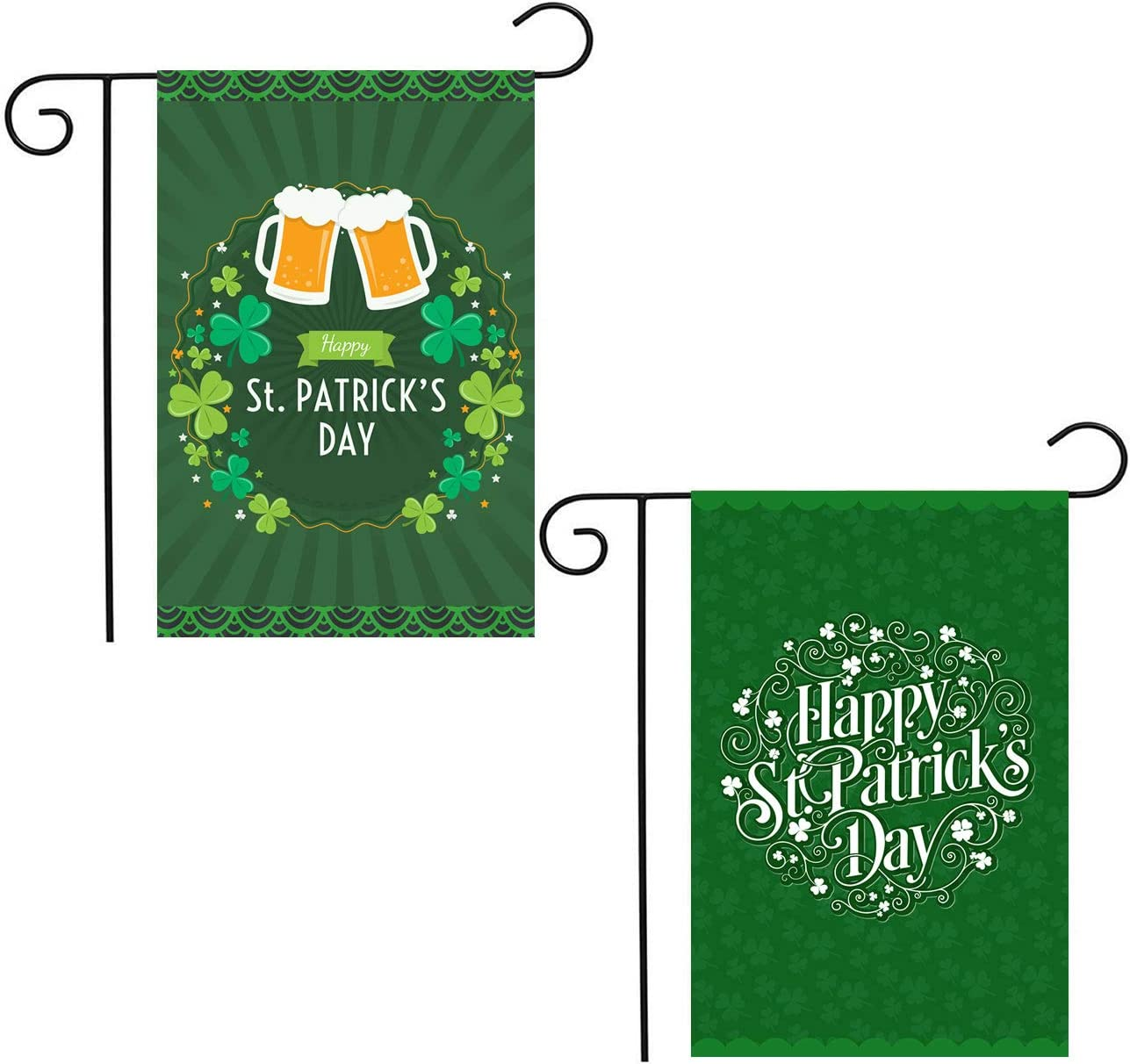 Shmbada Set of 2 Welcome St Patrick's Day Garden Flag Double Side, Outdoor Lawn Yard Farmhouse Decoration, Irish Shamrock Background Holiday Lanes Green Beer Accessories Decor, 12 x 18 Inch, 2 Pack