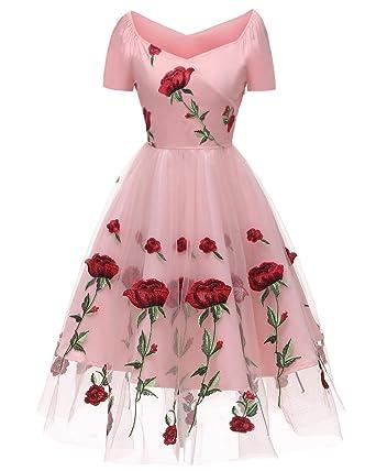 Aofur Elegant Womens New 50s Summer Dress Rockabilly Rose Embroidery Off Shoulder Vintage Dress Retro Cocktail Dress Wedding Guest Size 8 24