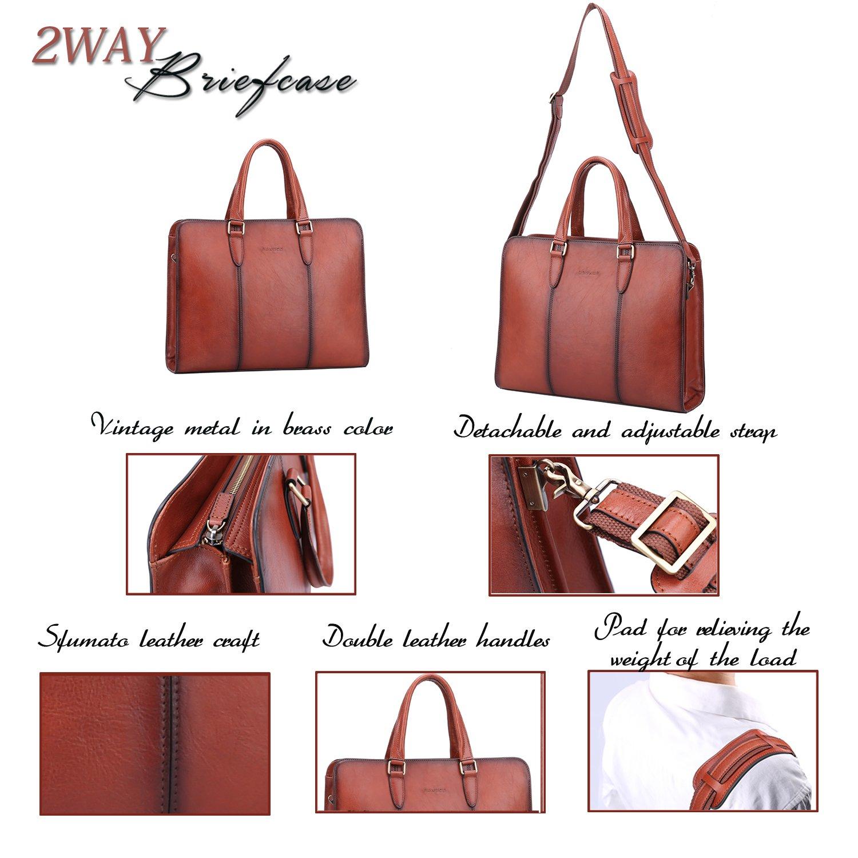 Banuce Vintage Full Grains Italian Leather Briefcase for Women Tote Handbag Attache Case 14 Inch Laptop Messenger Bag by Banuce (Image #4)