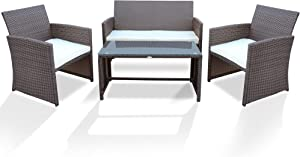 PAOLFOX Patio Rattan Conversation Set 4pcs Outdoor Wicker Furniture w/Tempered Glass Coffee Table & Thick Cushion Chair for Garden Lawn Poolside Backyard Balcony (Brown Sets+Beige Cushion)