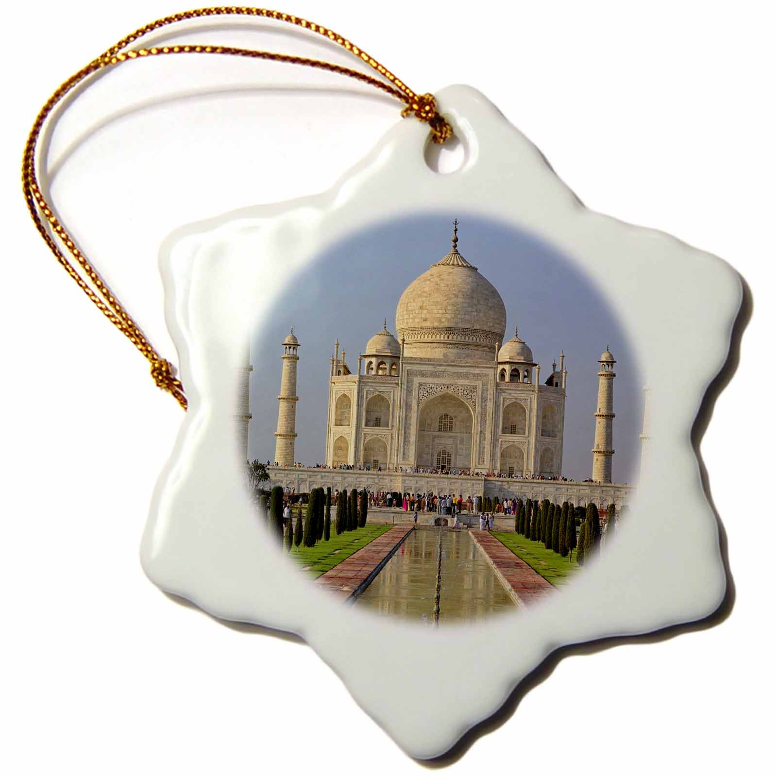3dRose orn_75425_1 Taj Mahal, Agra, India-As10 Aje0014-Adam Jones-Snowflake Ornament, 3-Inch, Porcelain by 3dRose (Image #1)