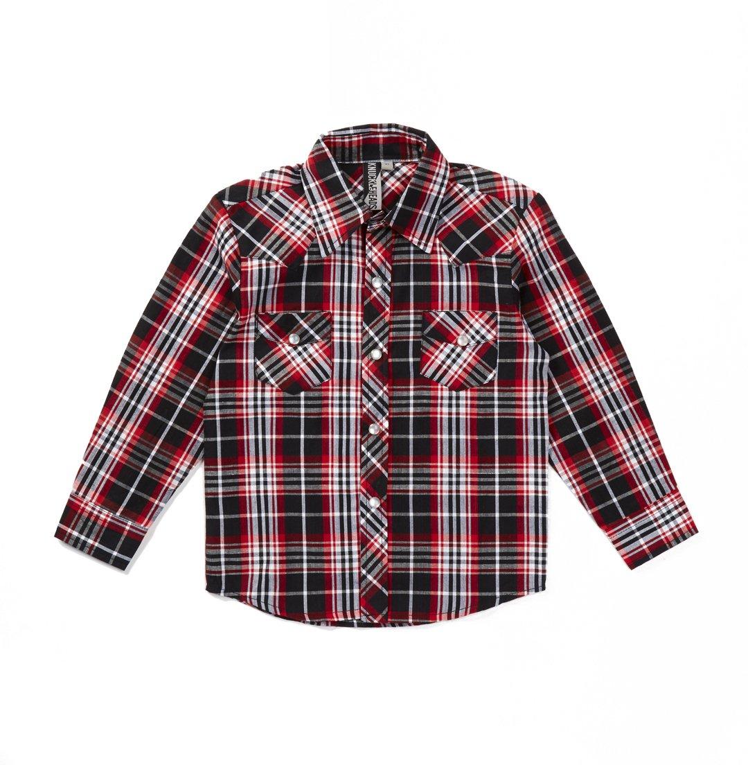 Knuckleheads Rockabilly Button Down Plaid Shirts (4t, Bolt Flannel)
