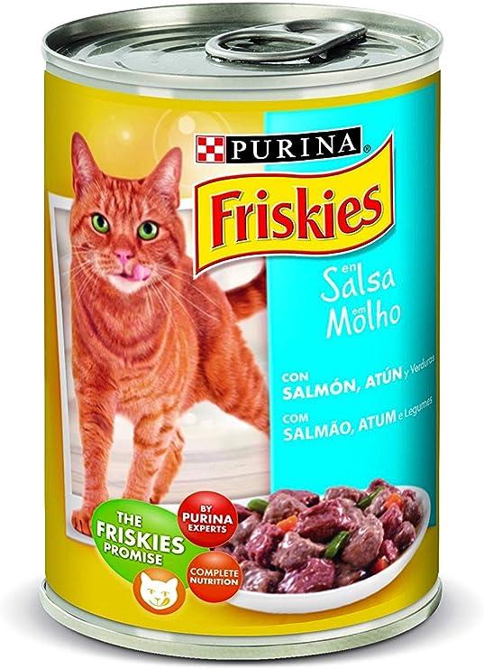 Friskies Purina Salsa Comida para Gato Adulto con Salmón y Atún - Lata 400 g: Amazon.es: Productos para mascotas
