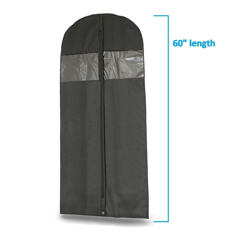 Suits-Includes Zipper /& Transparent Window 6 Plixio 60 Black Garment Bags for Breathable Storage of Dresses /& Dance Costumes