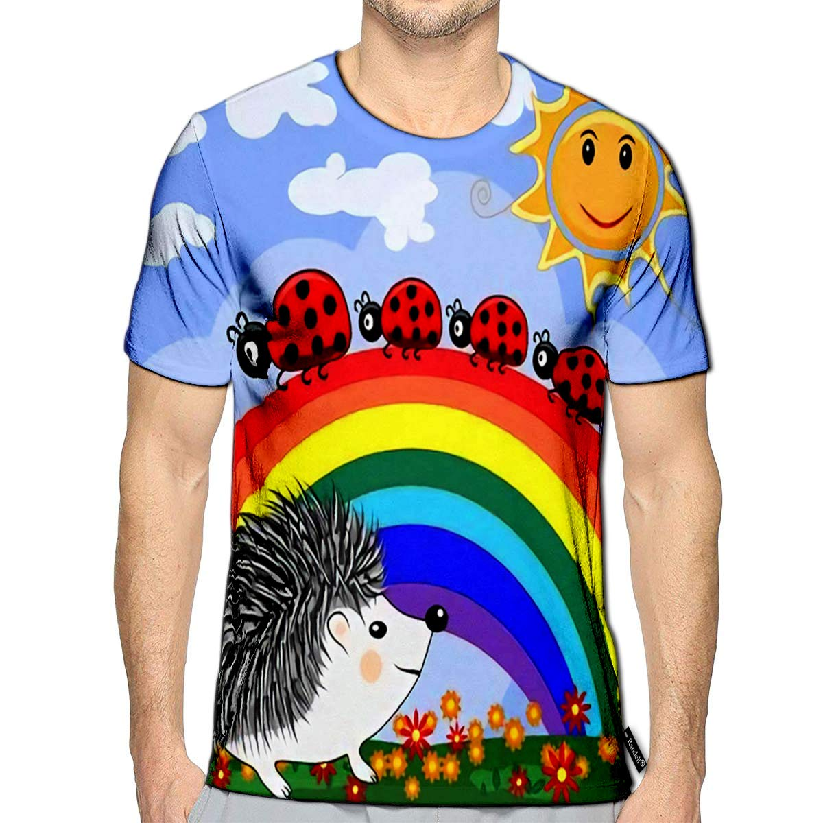 3D Printed T-Shirts Cute Little Hedgehog Near The Seven Colored Rainbow and Fami