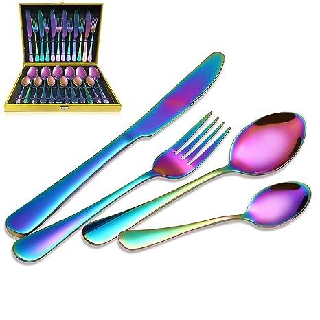 Magicpro - Juego de Cubiertos de Acero Inoxidable con Arco Iris para Bodas, Festivales,
