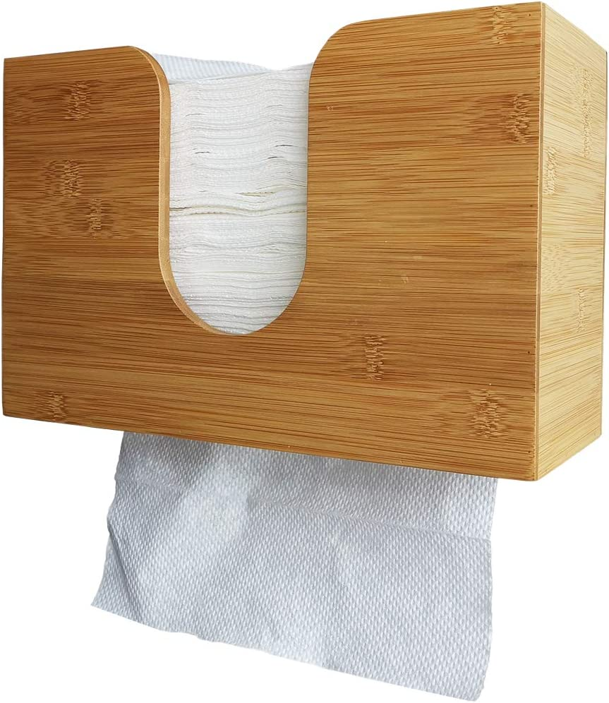 Sooyee Paper Towel Dispenser Bamboo Wall Mount & Countertop, Paper Hand Towel Holder for C Fold, Trifold, Z Fold, Multi Fold Paper Towels Decor for Kitchen & Bathroom