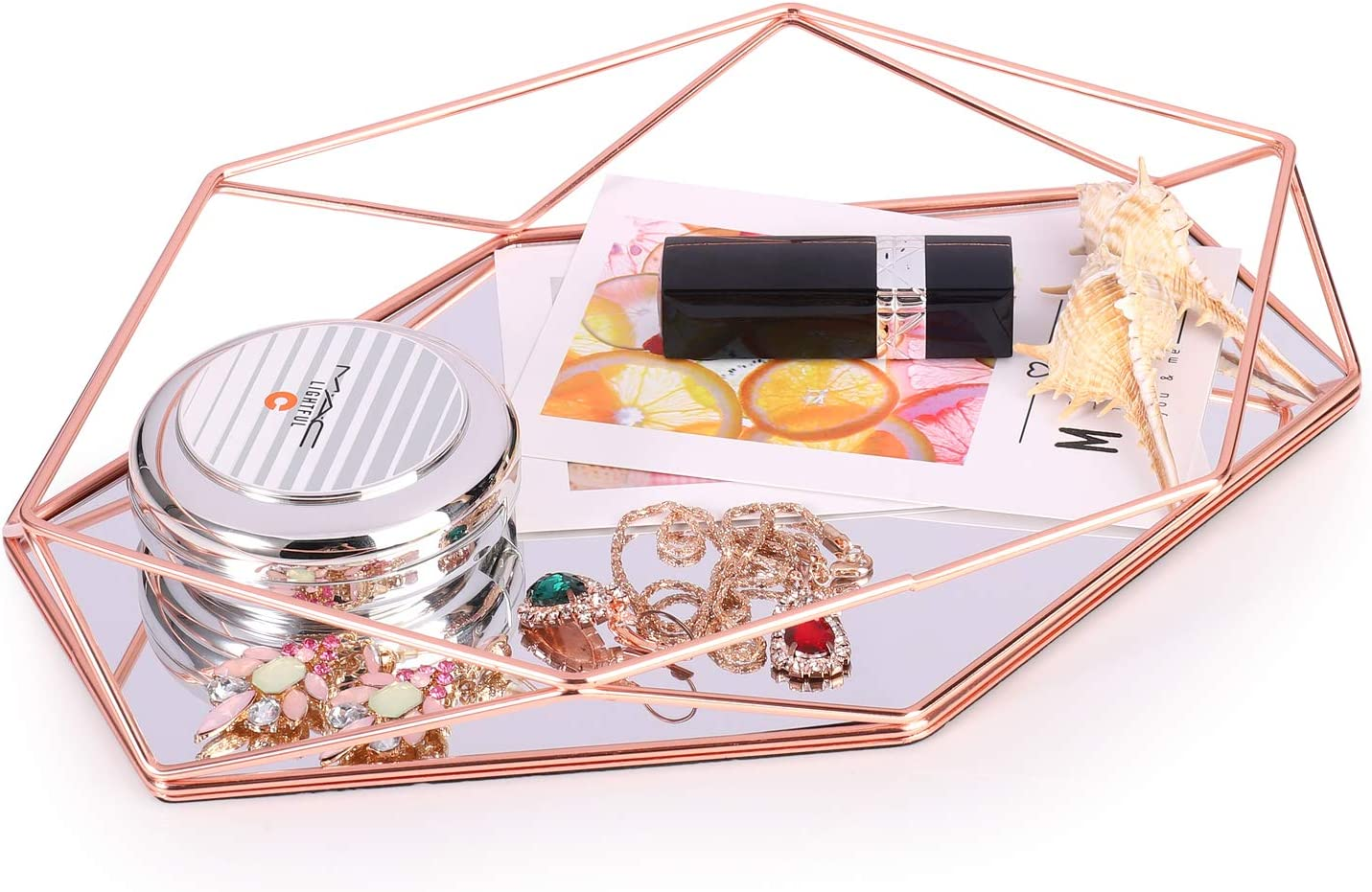 Decorative Tray Mirrored Metal Ornate Vanity Storage Organizer Countertop Tray Jewelry Cosmetic Makeup Organizer Geometric Hexagonal Decorative Desktop Tray Nordic Simple Style Rose Gold