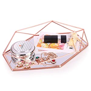 Decorative Tray Mirrored Metal Ornate Vanity Storage Organizer Countertop Tray Jewelry Cosmetic Makeup Organizer Geometric Hexagonal Decorative Desktop Tray Nordic Simple Style (Rose Gold)