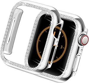 Yolovie Protect Case Compatible for Apple Watch SE Series 6 5 4 40mm Bling Cases iWatch Face Cover Crystal Diamonds Shiny Rhinestone Bumper, PC Protective Frame Women Girl (Silver-Diamond, 40mm)