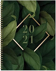 "TF PUBLISHING 2021 Fresh Foliage Large Weekly Monthly Calendar Planner - Appointment, Agenda, Notes, Stickers, Checklist - Home/Office Planning and Organization -Premium Thick Uncoated Paper 8.5""x11"""