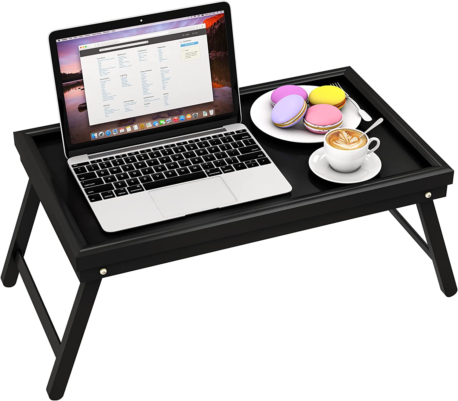 Zhuoyue Bed Breakfast Tray Table Serving Lap Food TV Dinner for Eating with Folding Legs Black Bamboo