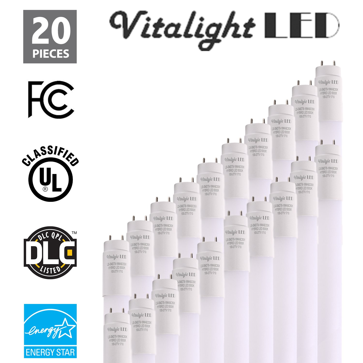 (20 Pack) PLUG AND PLAY - T8 LED Light Tube, 4FT 18W (40W Replacement), 5000K (Daylight White), 2400lm, Frosted Cover, Dual-End & Single-End Powered, Works with/without ballast, Shatterproof, UL & DLC
