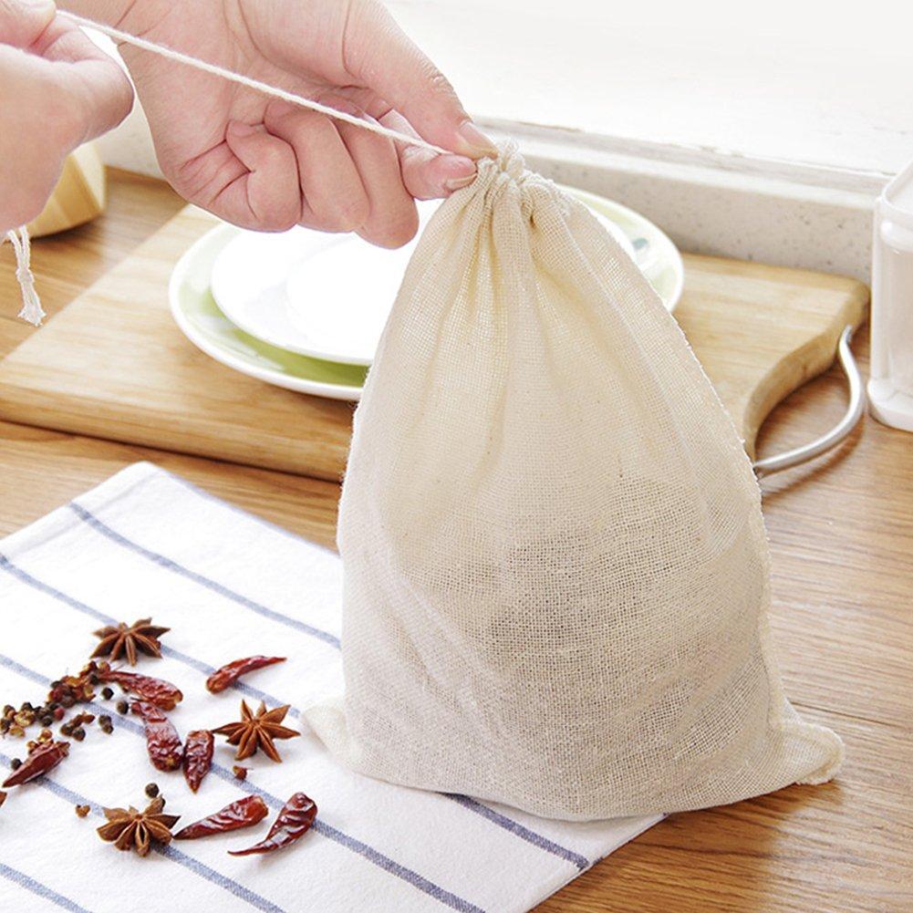 leche para sopa gran capacidad Bolsas de filtro de t/é frutos secos 10 unidades reutilizables infusor de t/é suministros de cocina de cocina 26 cm x 20 cm 26cm*20cm blanco