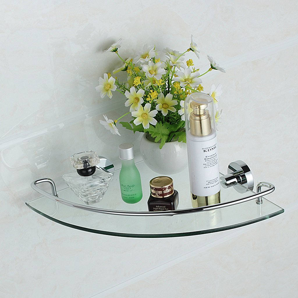 1 Tier Zhen GUO Glass Corner Shelf Triangle Wall Mounted, Bathroom Floating Shower Shelves with Chrome Barss Rail and Brackets (Edition   2 Tiers)