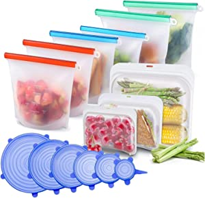 Reusable Storage Bags - BPA free Silicone Food Storage Bag & Silicone Stretch Lids, Eco-Friendly Reusable Food Bags and Covers, 15 Pack (2 Gallon Bags + Leak-proof Sandwich Bags + 6 storage Lids)