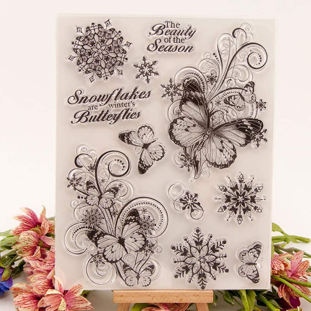 VVXXMO Schmetterling DIY Silikon Klare Stempel Blatt Scrapbooking Album Foto DIY Geburtstag Weihnachten Valentinstag Thanksgiving Geschenke