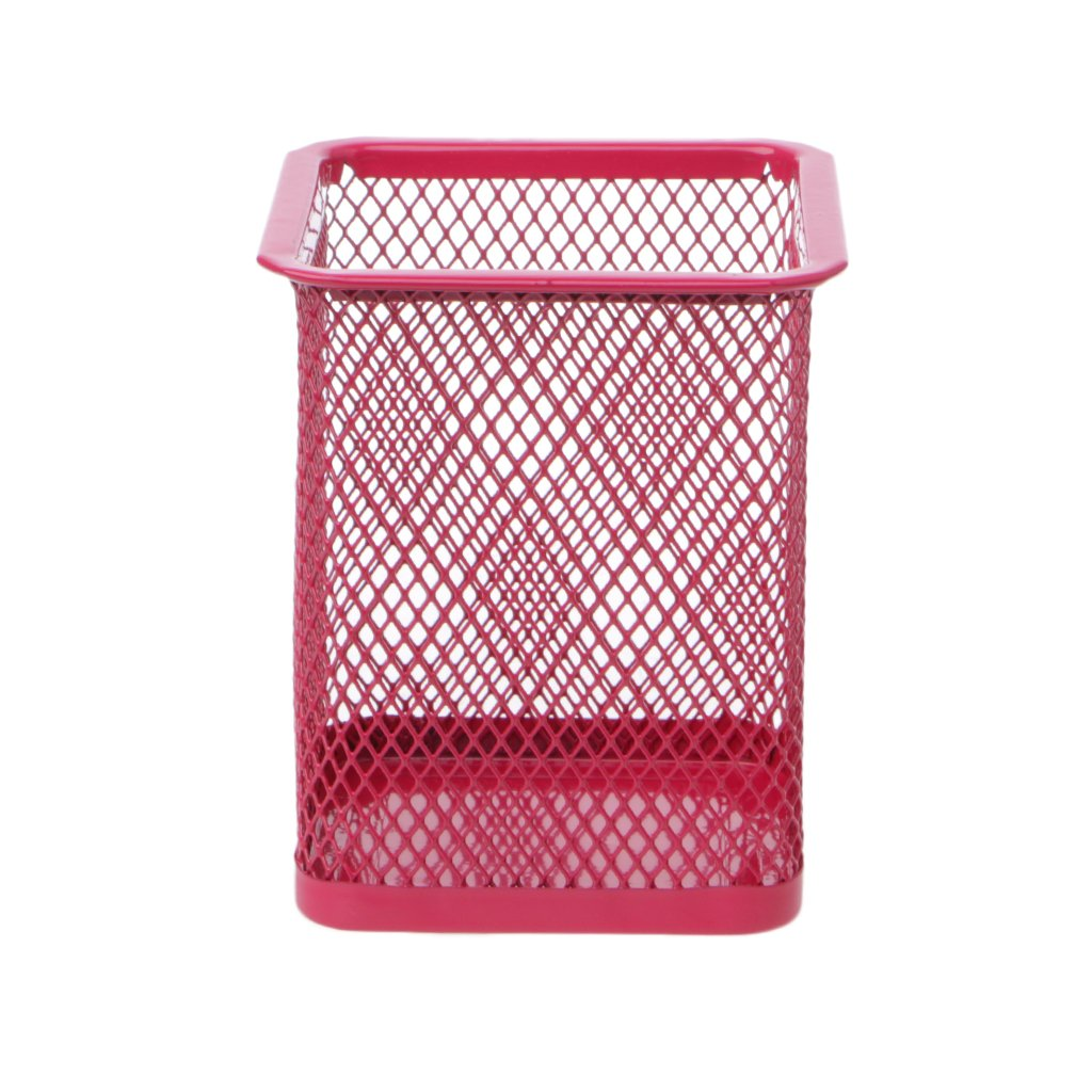 Dabixx Rectangular Mesh Style Metal Pencil Holder Organizer Desk Pen Containers Hot Pink B