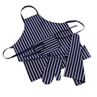 Mad About Cooking - 3 Piece Chef Set - Butcher Stripe - Navy + White