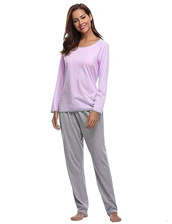 a0fa0f56c9352c Aibrou Damen Pyjama Schlafanzug Hausanzug Baumwolle Lang Nachtwäsche  Nachthemd Lila L