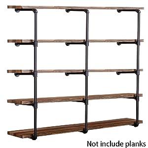 Industrial Wall Mount Iron Pipe Shelf Shelves Shelving Bracket Vintage Retro Black DIY Open Bookshelf DIY Storage offcie Room Kitchen Shelves (3 Pcs 5 Tier Pipe Shelf,Not Included Planks)