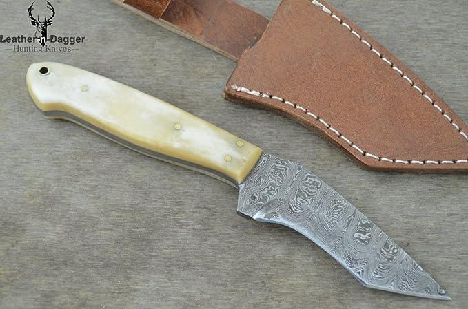 Leather-n-Dagger Ld180 - Cuchillo de Caza (Acero de Damasco ...