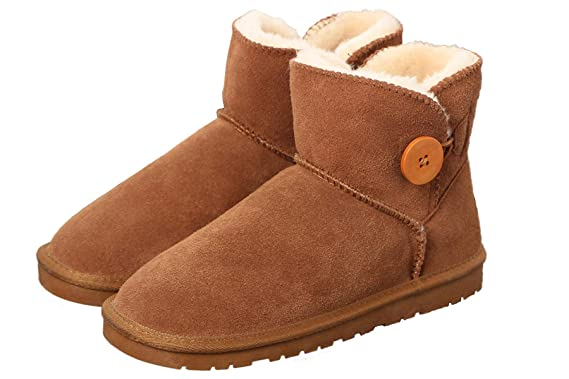 392d598b3286f Yaketera Women s Fashion Classic Mid Calf Boot Winter Warm Short Button  Comfort Snow Boots Shoes US
