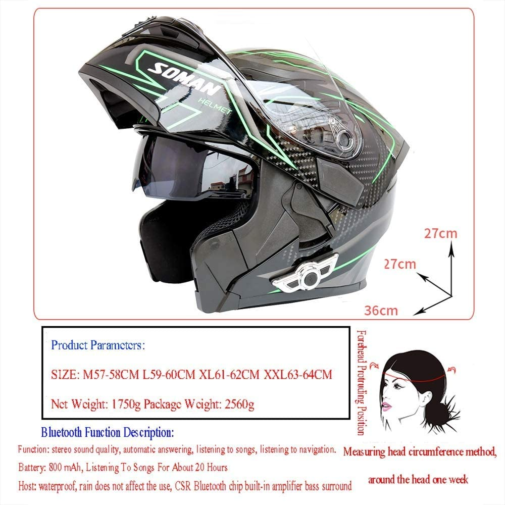 O Casque Bluetooth Moto Collision modulaire Casque Bluetooth D T approuv/é-Anti-Brouillard Double Miroir,L