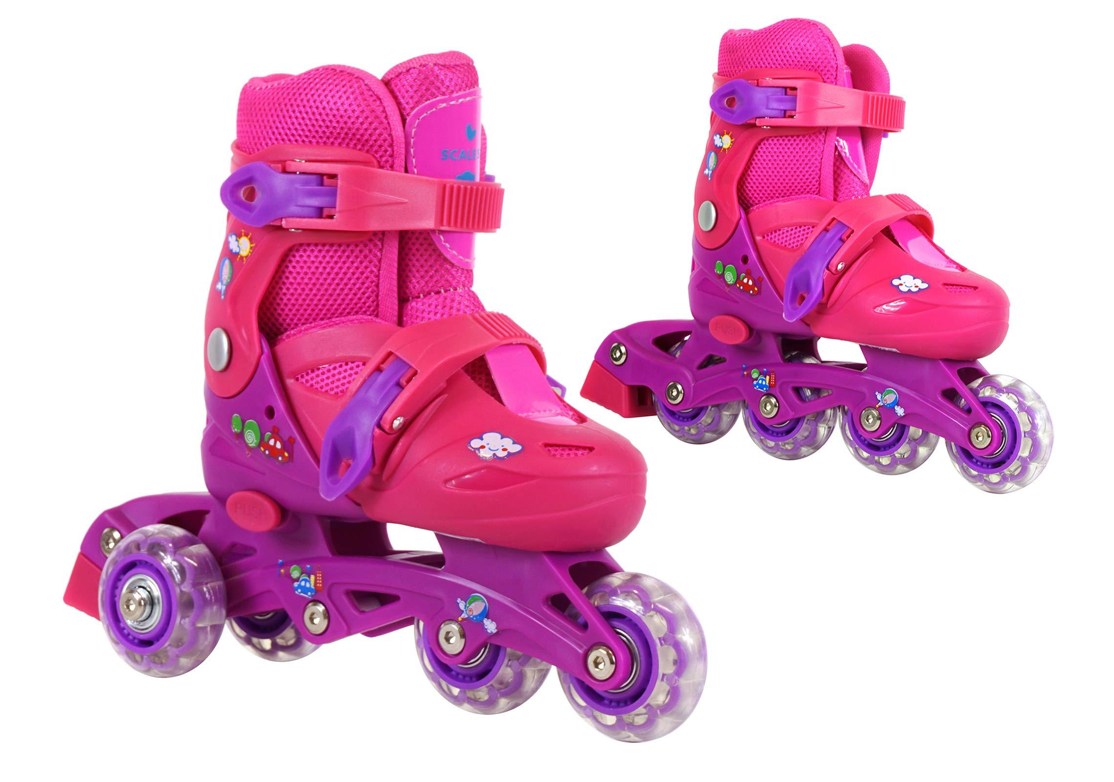 Kids Training Adjustable Skates Combo 3 Wheels 2 in 1 for Preschool Junior Boys and Girls Perfect First Inline Skates Child Roller Skates