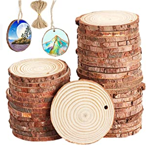 40 pcs 2.4-2.8 inch Natural Wood Slices for Craft Wood Unfinished Kit Predrilled with Holes Wooden Circles Great for Arts Rustic Christmas Ornaments DIY Wed