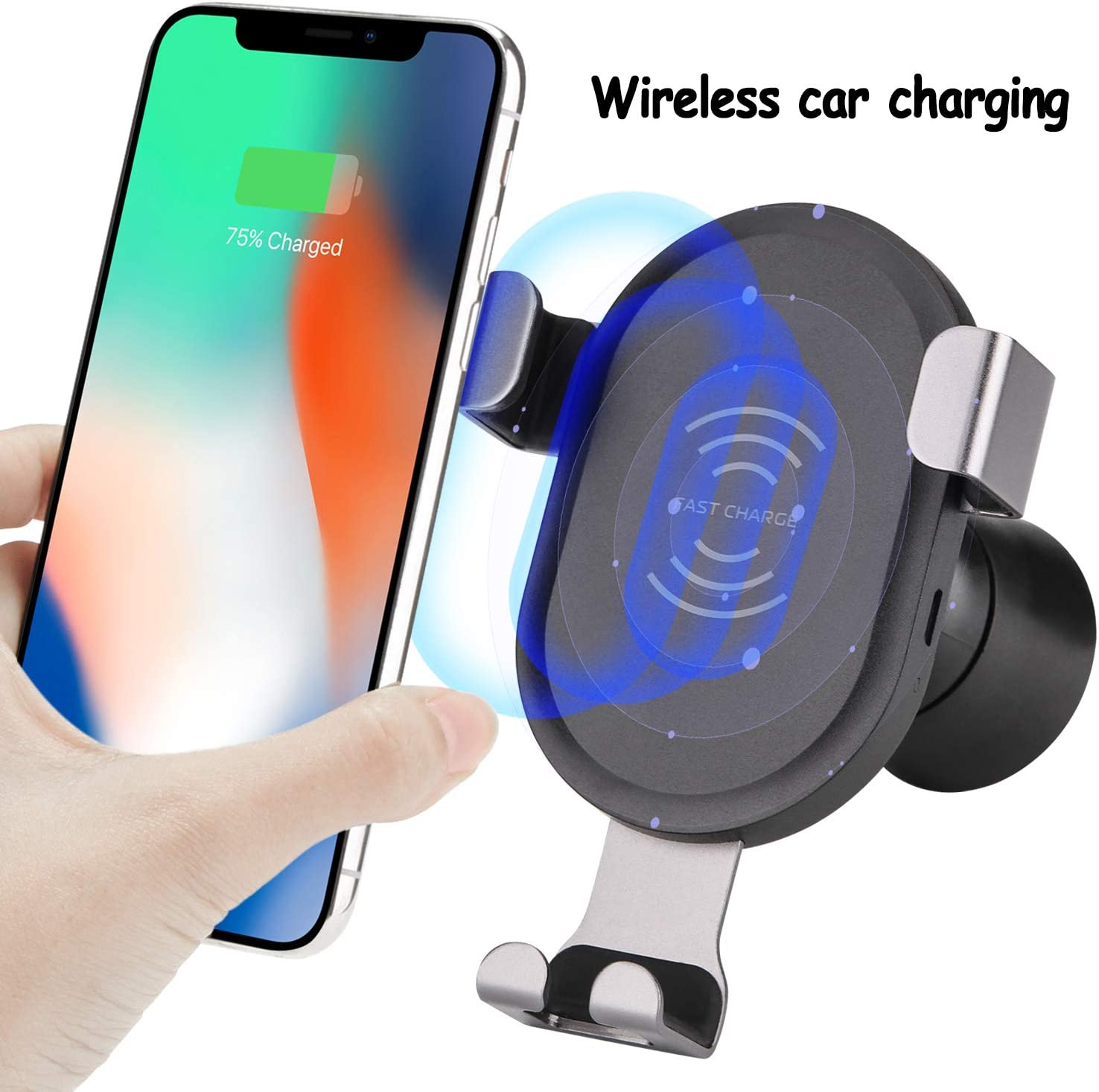 Wireless Car Charger Mount,10W//7.5W Automatic Clamping Qi Fast Cell Phone Charging Adjustable Gravity Dashboard Air Vent Phone Holder Stand For iPhone XS//XS MAX//XR//X//8//8 Plus,Samsung Galaxy S9//S9+//