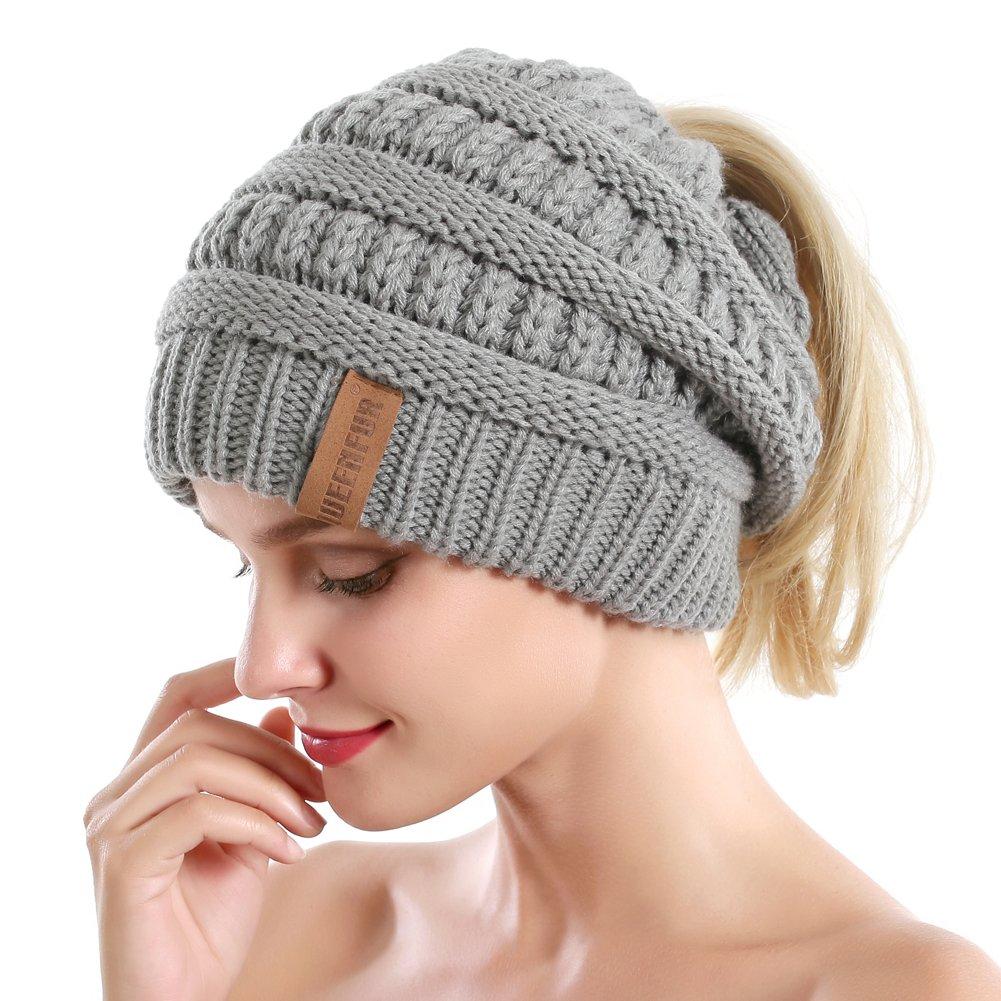 Queenfur Women Ponytail Beanie Winter Warm Stretch Cable Knit Messy High Bun Hat