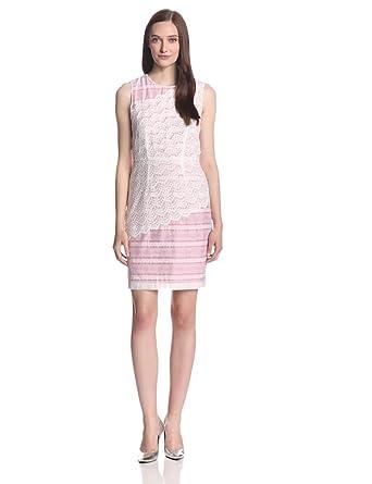 Ivy & Blu Women's Sleeveless Stripe and Lace Sheath Dress, Multi, 14