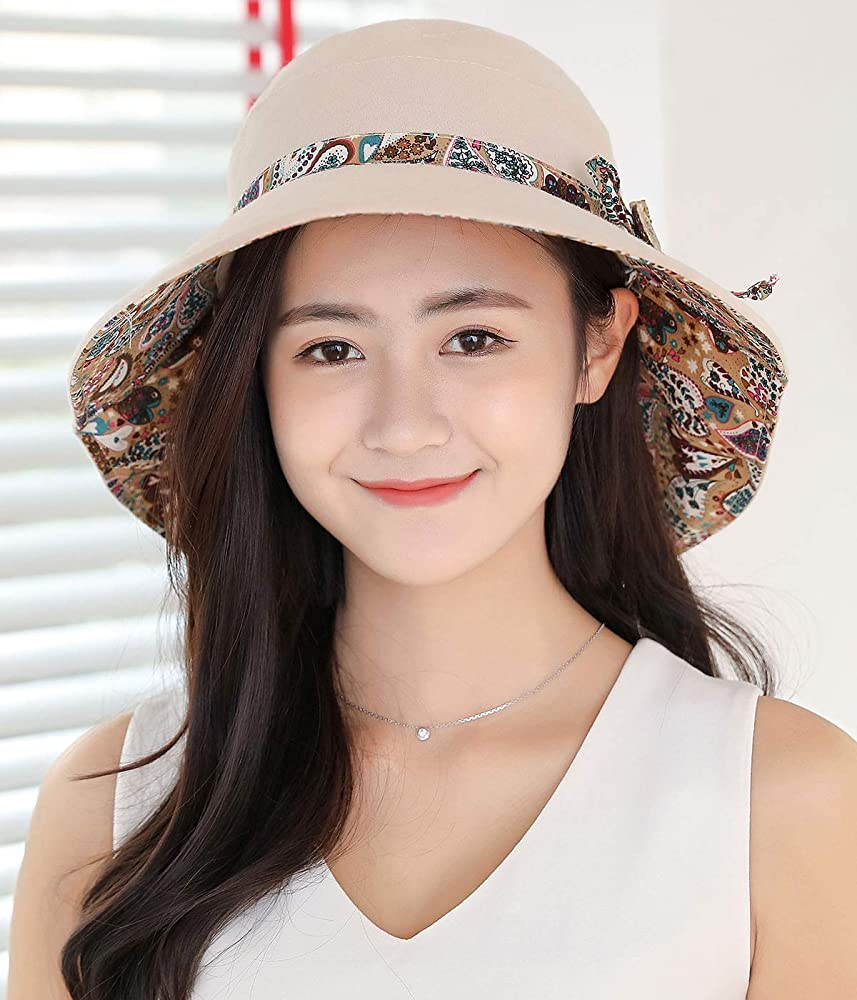 6f0d0c3c7 Reversible UV Protection Packable Sun Hat Ladies Wide Brim Gardening Hat  w/Chin Cord 56-68CM