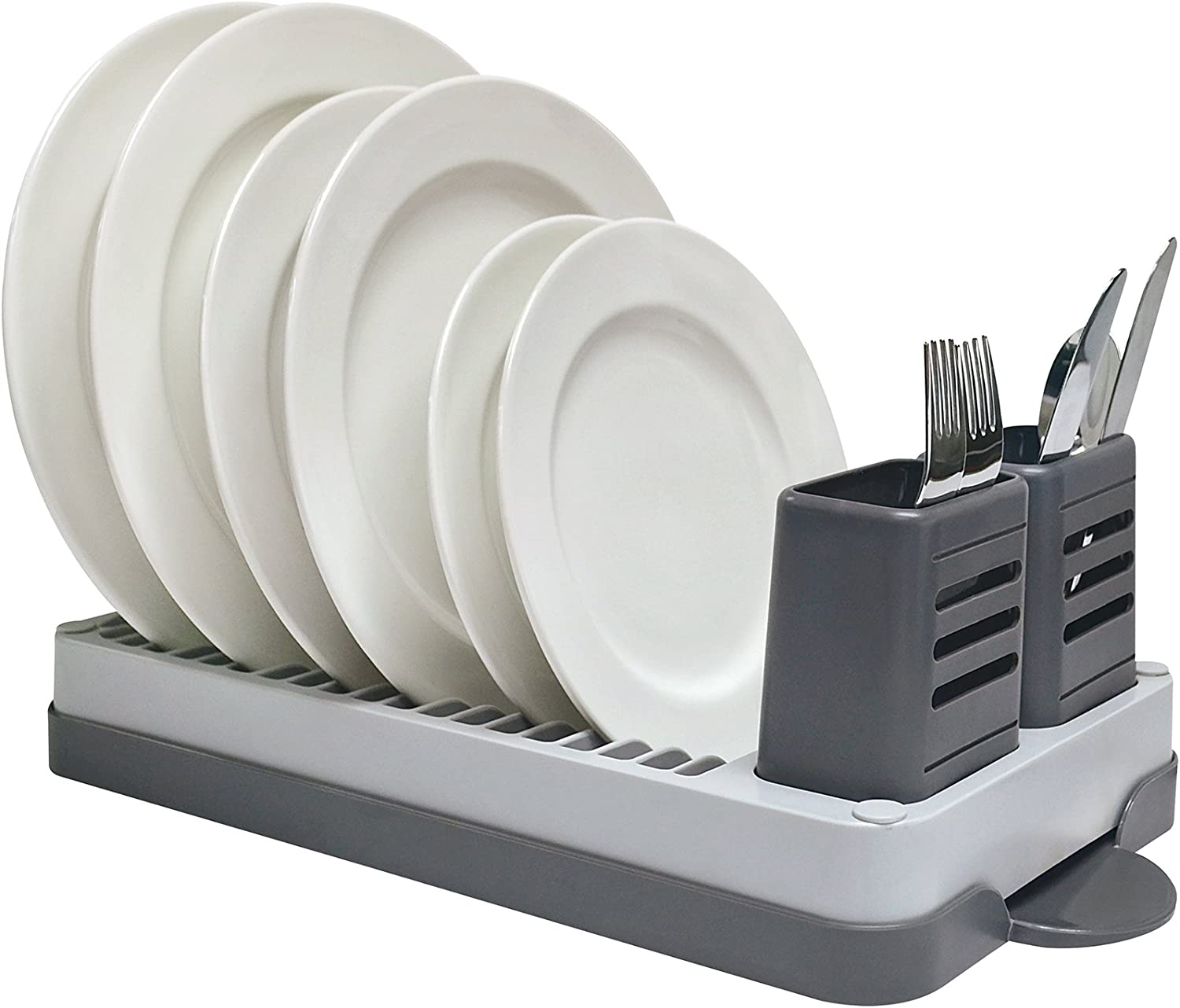 Real Home Innovations Designer Compact Dish Rack Set, Gray