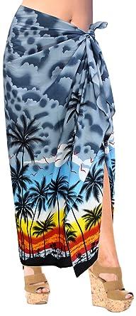 ec9dfd04be620 LA LEELA Soft Light Swimwear Wrap Pareo Long Sarong Printed  78 quot X39 quot  Grey 3062