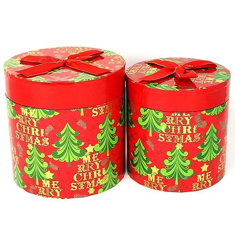 com-four® 2X Caja de Regalo Decorativa Hecha de cartón en Rojo, Cajas