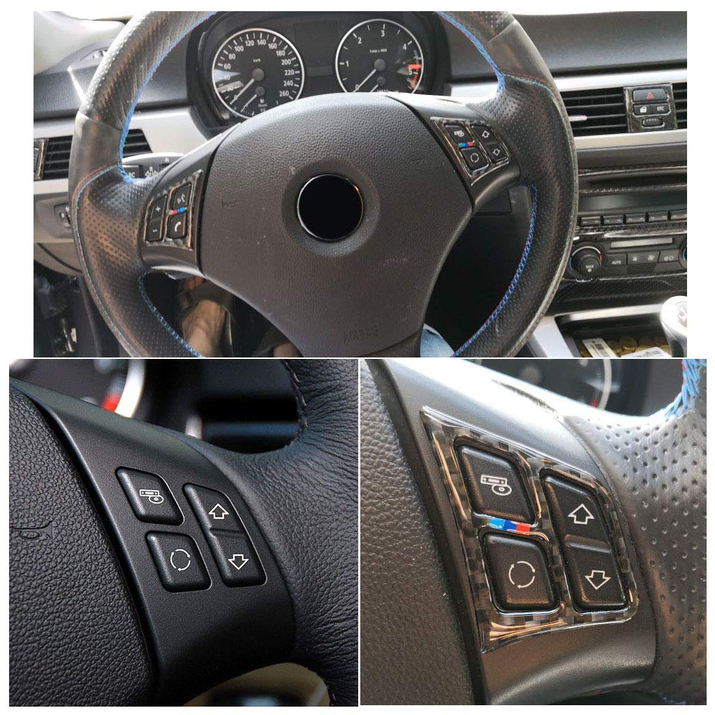 ABS Carbon Fiber Style Steering Wheel Button Cover Trim for BMW 3 Series E90 2005-2012 style 1 Autobro