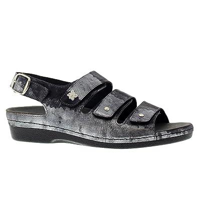9f2e7e67a7a Helle Comfort Womens 356-F Black Silver Leather Sandals 38 EU