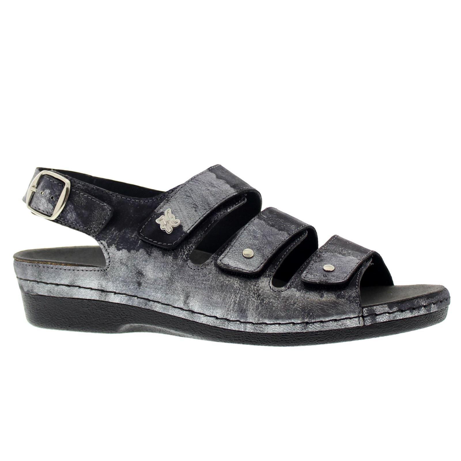 Helle Comfort Womens 356-F Black Silver Leather Sandals 38 EU