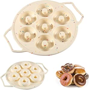 Silicone Mini Donut Pan, Cake Mold Doughnut Pans for Baking, Donut Maker with Handle, No Stick 7-Cavity Donut Mold, Also for Mini Bagels