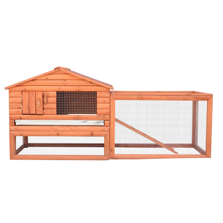 House Deals Wooden Rabbit Chicken House Hutch Coop Bunny Home Hen Pet Animal Backyard Run High Protection by House Deals