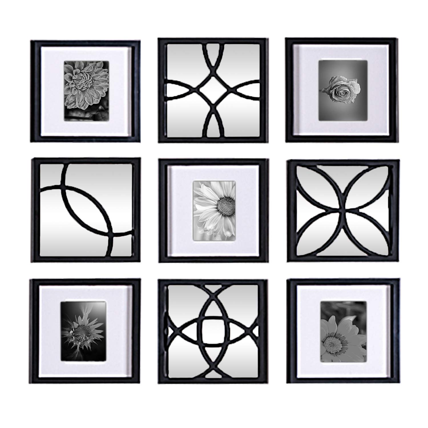 Jerry & Maggie - Total 9 Pieces of Photo Frame & Wall Mirror - Wall Decor Combination - Black PVC Picture Frame Selfie Gallery Collage Wall Hanging For (9x9 matted to 6x4) Photo - Wall Mounting Design by Jerry & Maggie