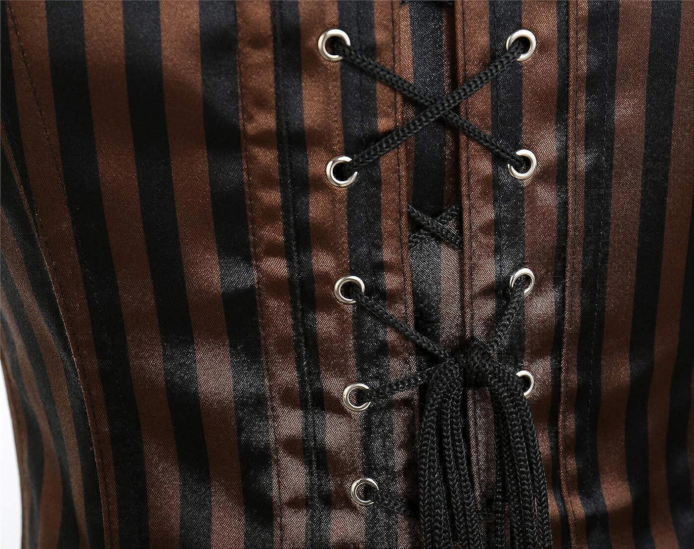 CROSS1946 Womens Gothic Steampunk Steel Boned Underbust Corset Vests Waist Training Retro Bustier