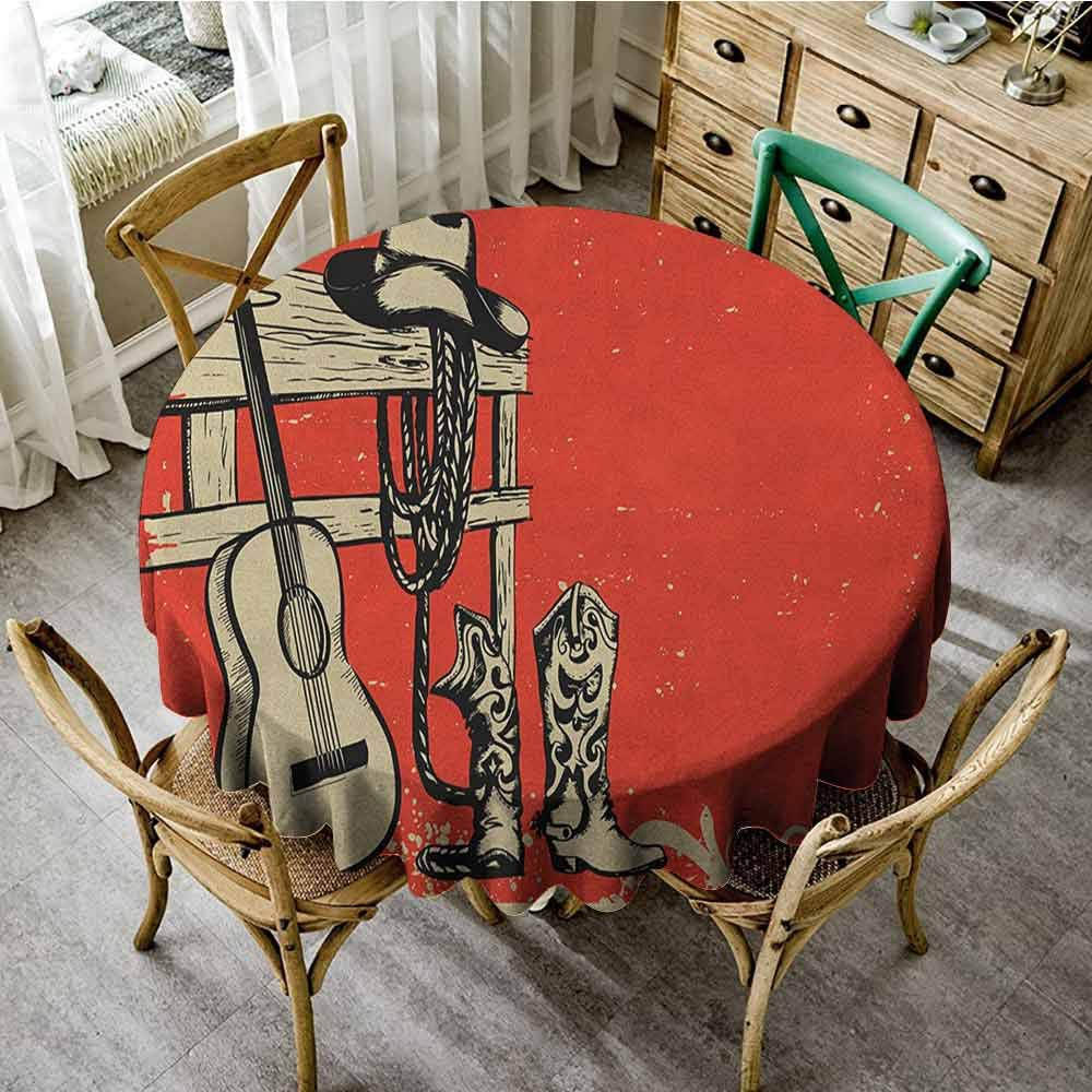 Dinning Tabletop Decoration Western Image of Wild West Elements with Country Music Guitar and Cowboy Boots Retro Art Beige Orange pad Round Tablecloth Diameter 70'' by ScottDecor