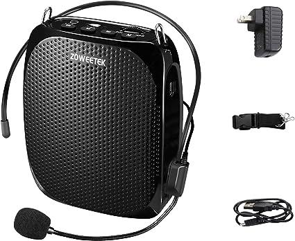 1200 mAh Multifuncional Mini Altavoz de Voz Port/átil Reducci/ón de Ruido con Micr/ófono Lavalier y con Cable para Maestros Vendedor de Voz Minterest Amplificador de Voz(12W)