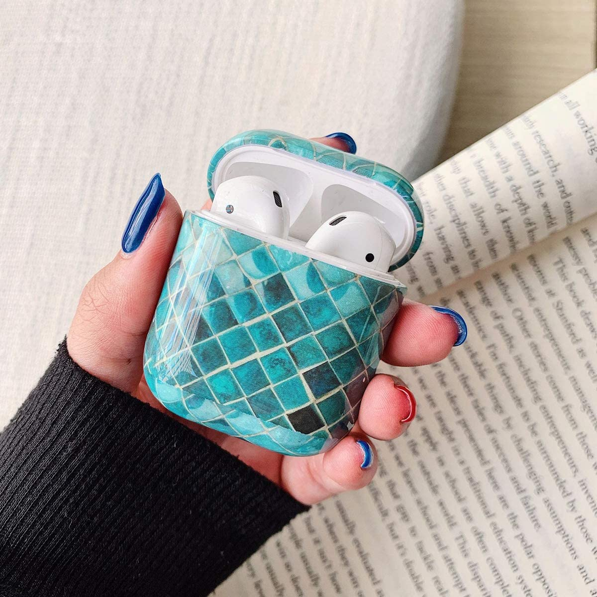 Amamcy Mermaid Scales Pattern AirPods Case Protective AirPods Hard Cover Shockproof Case for Apple AirPods