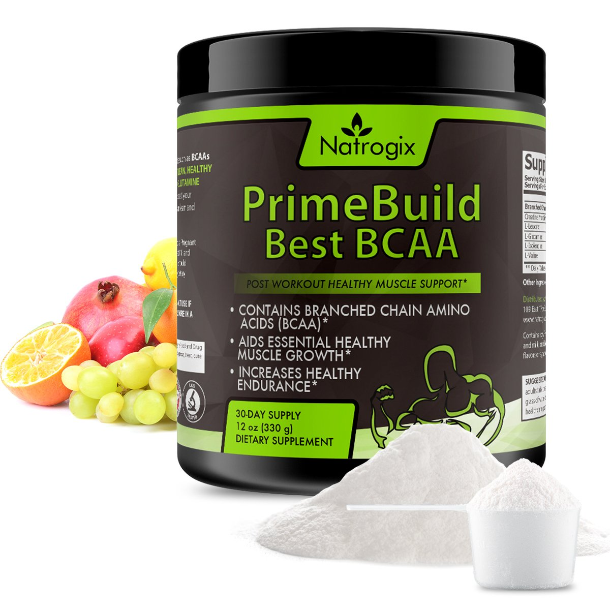 330g (12oz) 3-In-1 Post Workout 7G BCAA Powder by Natrogix, 3G Creatine and a 2:1:1 ratio of Branched Chain Aminos for Muscle Growth, Faster Recovery and Prevent Muscle Soreness. Great Taste. Low Carb